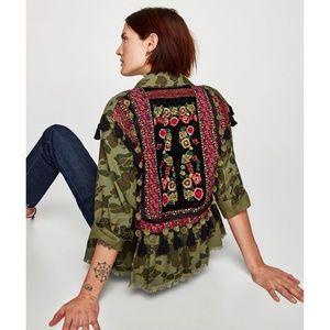Zara camo embellished jacket